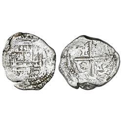 Potosi, Bolivia, cob 2 reales, Philip II or III, assayer not visible, Grade 2.