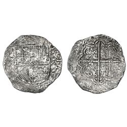Santa Fe de Bogota, Colombia, cob 8 reales, 1622A, with pomegranate in shield, rare, Grade 3.