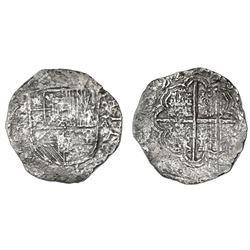 Santa Fe de Bogota, Colombia, cob 8 reales, 1622A, with pomegranate in shield, rare, Grade 3.
