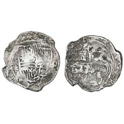 Mexico City, Mexico, cob 8 reales, Philip III, assayer F, Grade 2.