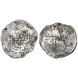 Mexico City, Mexico, cob 8 reales, Philip III, assayer D, Grade 1.