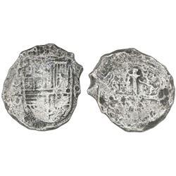 Mexico City, Mexico, cob 8 reales, Philip III, assayer D, Grade 2.