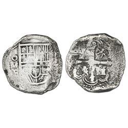Mexico City, Mexico, cob 4 reales, Philip III, assayer F, Grade 2.