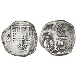 Mexico City, Mexico, cob 4 reales, Philip III, assayer F, Grade 2.