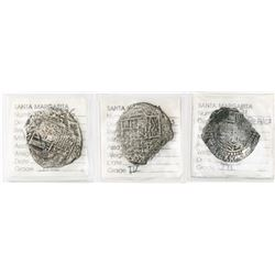 Lot of three Potosi, Bolivia, cobs: 8 reales, Philip III, assayer M, Grade 3; 8 reales, Philip III,