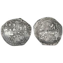 Potosi, Bolivia, cob 4 reales, Philip II, assayer B, Grade 1.