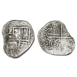 Potosi, Bolivia, cob 4 reales, Philip III, assayer not visible, Grade 2.