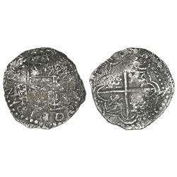 Potosi, Bolivia, cob 4 reales, (1)618, assayer not visible.
