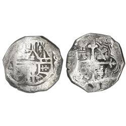 Mexico City, Mexico, cob 8 reales, assayer not visible (D, distinctive cross of the early 1630s).