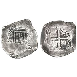 Mexico City, Mexico, cob 8 reales, (1)638(P), with canvas imprint on shield side, rare.