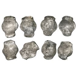 Lot of four Mexico City, Mexico, cob 8 reales, Philip IV, assayer P (where visible), all urn (or wri