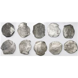 Lot of ten Mexico City, Mexico, cob 8 reales, Philip IV, assayers D or P (where visible).