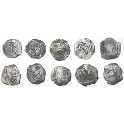 Lot of ten Mexico City, Mexico, cob 4 reales, Philip IV, assayers D or P (where visible).
