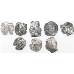 Lot of eight Mexico City, Mexico, cob 4 reales, Philip IV, assayers D or P (where visible), all inte