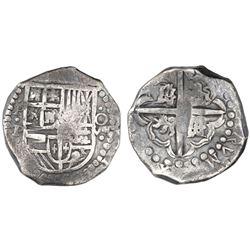 Potosi, Bolivia, cob 8 reales, Philip IV, assayer P/T (ca. 1628).
