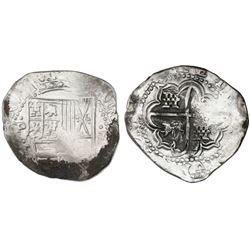 Potosi, Bolivia, cob 8 reales, Philip IV, assayer T (early 1630s).