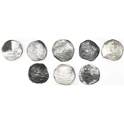 Lot of eight Potosi, Bolivia, cob 8 reales, Philip IV, assayers T and TR (all visible).