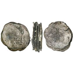 Stack of four Mexican cob 8R (all Philip IV, probably all assayer P), uncleaned as found.