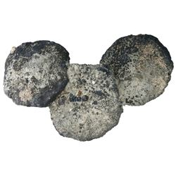 "Uncleaned clump of three cob 8R ""biscuits"" (cocooned in oxidation) in the shape of a Mickey Mouse he"