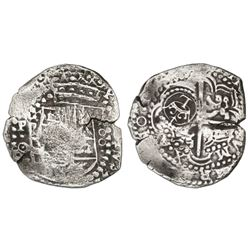 Potosi, Bolivia, cob 8 reales, (1649)O, with crowned-L countermark on cross.