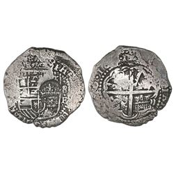 Potosi, Bolivia, cob 8 reales, 1651E, crowned-dot-F-dot countermark on shield.