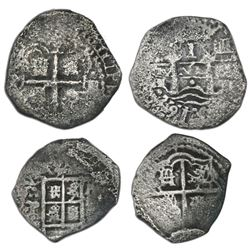 Lot of two Potosi, Bolivia, cob 1R: shield type (1650-51, assayer not visible); 1652E transitional,