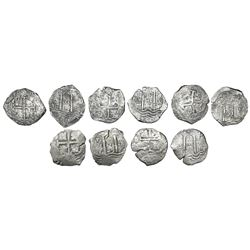 Lot of five Potosi, Bolivia, cob 8 reales, Charles II, assayers E, V and C, various dates.