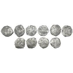 Lot of five Potosi, Bolivia, cob 8 reales, Charles II, assayers E, V and C, various dates.
