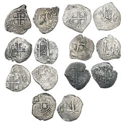 Lot of seven Potosi, Bolivia, cob 1R, all assayer E: 1656, 1665, 1666, 1669, 1675, 1677 and one with