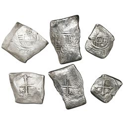 Lot of three Mexican silver cobs (two 8R and one 4R), Charles II, assayer L (where visible).