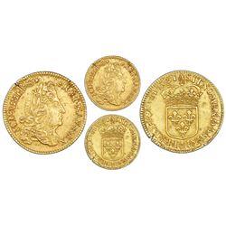 France (Paris mint), gold louis d'or, Louis XIV, 1691-A, struck over a louis d'or of 1642 (date visi