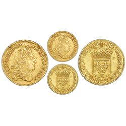 France (Paris mint), gold louis d'or, Louis XIV, 1691-A, struck over a louis d'or of 1642 (date visi
