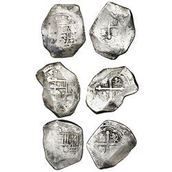 Lot of three Mexico City, Mexico, cob 8 reales, Philip V, assayers not visible.