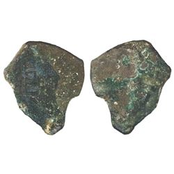 """Mexico City, Mexico, cob 4 reales """"greenie"""" (encrusted as found), Philip V, assayer not visible, ori"""