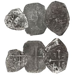 Lot of three Mexico City, Mexico, small silver cobs (two 1R and one 1/2R) with Fisher tags.