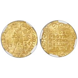 Utrecht, United Netherlands, gold ducat, 1724, NGC MS 61, ex-Akerendam (designated on label).
