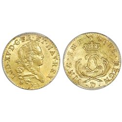 France (Lyon mint), gold louis d'or, Louis XV, 1723-D, PCGS MS61.