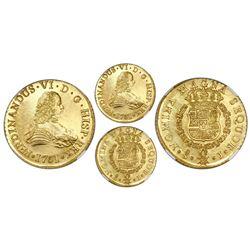 Santiago, Chile, gold bust 8 escudos, Ferdinand VI, 1751J, NGC MS 63 / La Luz.