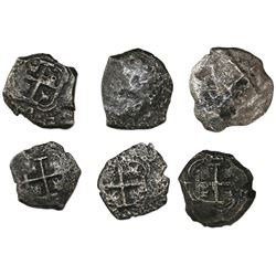 Lot of six Potosi, Bolivia, cob 4 reales, various dates and assayers (where visible).