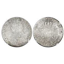 France (Lyon mint), ecu, Louis XV, 1726-D, NGC genuine / La Dramadaire.