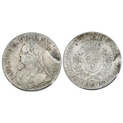 France (Lyon mint), ecu, Louis XV, 1727-D, NGC genuine / La Dramadaire.