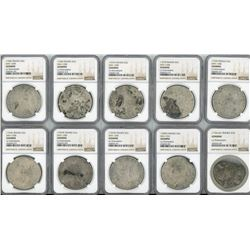 Lot of 10 French (various mints) ecus, Louis XV (small or large bust), various dates (nearly all vis