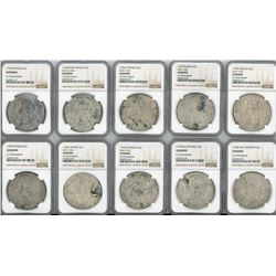 Lot of 10 French (various mints) ecus, Louis XV (large bust), various dates (nearly all visible) in