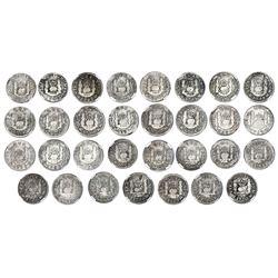 Date-run collection (32 coins) of Mexico City, Mexico, pillar 1R, 1736-1771, all NGC genuine / El Ca