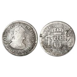 Mexico City, Mexico, bust 1/2 real, Charles IV transitional (bust of Charles III, ordinal IV), 1789F