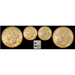 "USA (San Francisco mint), gold $20 coronet Liberty ""double eagle,"" 1857-S, broken A, PCGS AU58 / Shi"