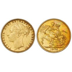 Melbourne, Australia (under Great Britain), gold sovereign, Victoria (young bust), 1876-M.