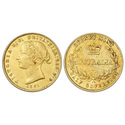 Sydney, Australia (under Great Britain), gold half sovereign, Victoria (young bust), 1861.