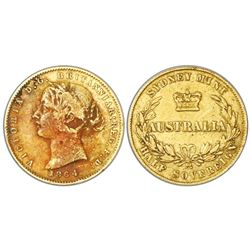 Sydney, Australia (under Great Britain), gold half sovereign, Victoria (young bust), 1864.