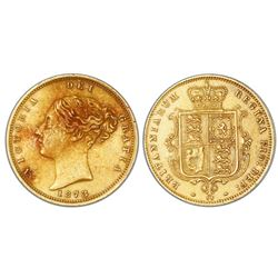 Great Britain (London, England), gold half sovereign, Victoria (young bust), 1873.